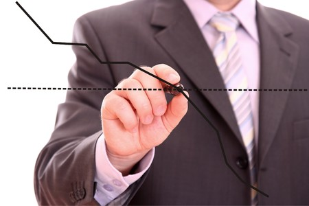 buying stock: Man drawing graph isolated on white background