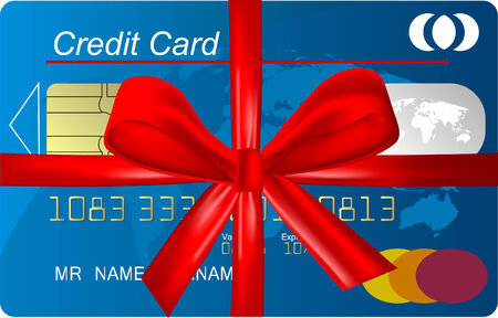 Credit card with red ribbon as a gift Vector