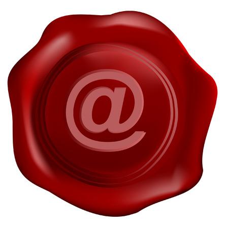 Wax seal vector with internet symbol Vector