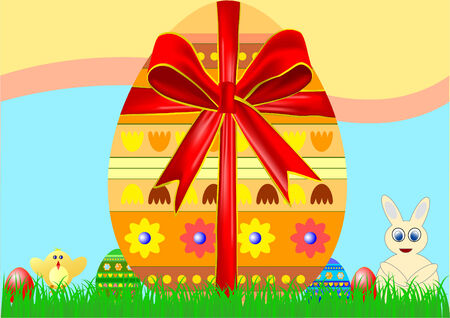 silver grass: Big egg with red ribbon on Easter background Illustration