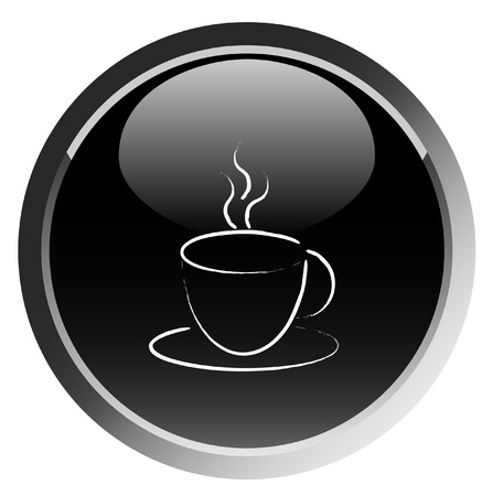 Black coffee cup button ,vector Illustration