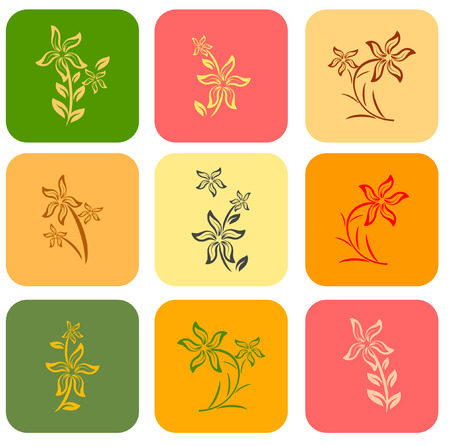 set of flower background different color Vector