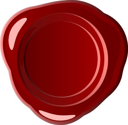 sceau cire rouge: Vecteur cachet de cire rouge sur blanc