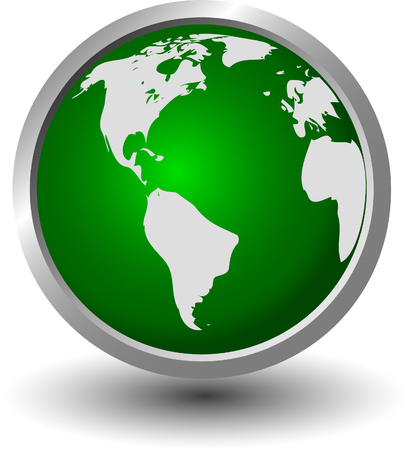 continents on a green sphere, button, vector Stock Vector - 4454241