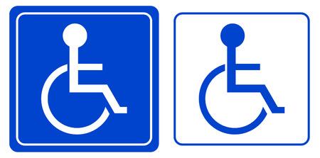 handicap people: discapacidad o persona en silla de ruedas s�mbolo, vector Vectores