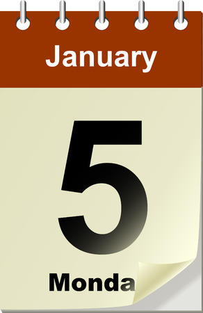 turn of the year: Vector illustration of calendar with bend page.