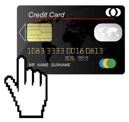 Black credit card vector with hand cursor Stock Vector - 4454253