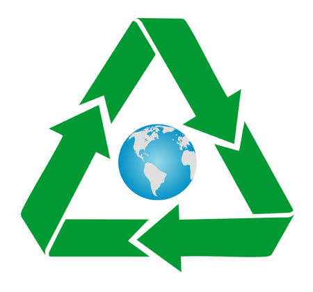 Recycling symbol with earth Vector