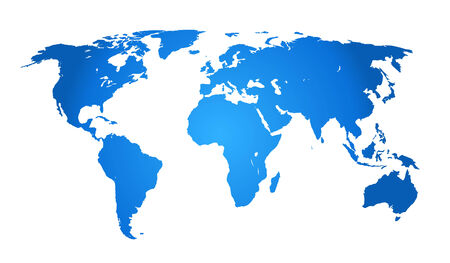 Blue map of the world on white