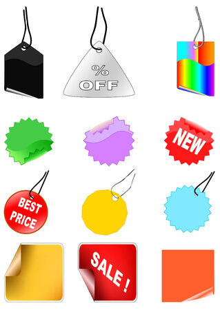 Set of color different shopping tags over white Vector