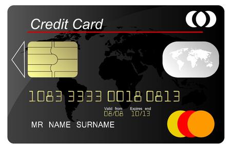 debit cards: Black credit card vector, highly detailed