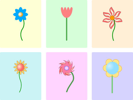 Set of color tile with flower background , vector Vector