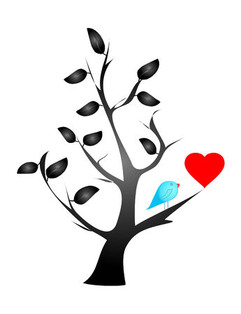 concept on valentine's day -love- (bird and heart) Stock Vector - 4472868