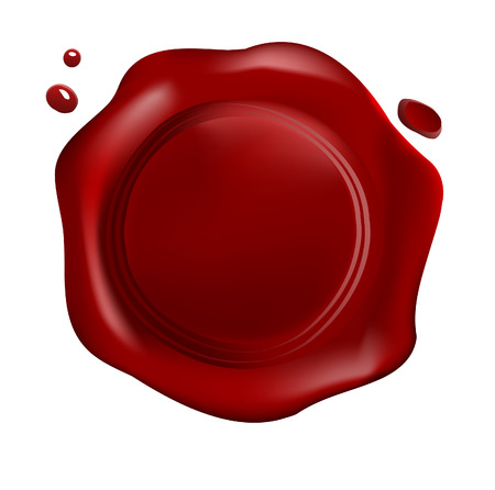 Red wax seal with drops (vector) Vector
