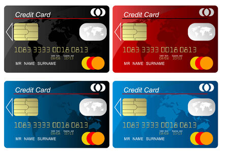 Set of colorcredit card vector, highly detailed, vector