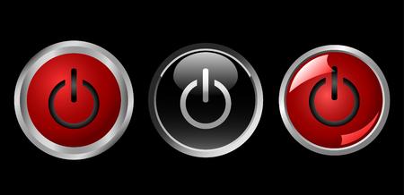 los iconos de botón de encendido, rojo y negro, vector de Ilustración de vector