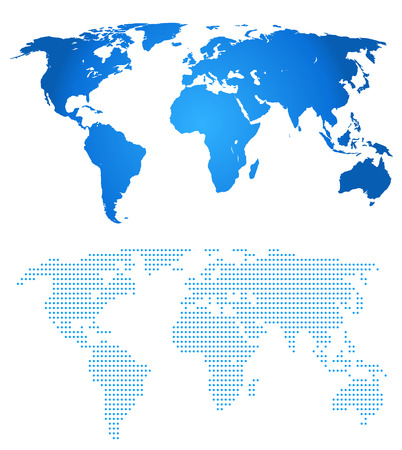 Blue two map of the world