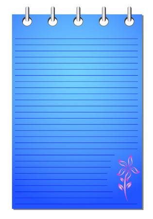 Spiral blue notepad with flower pattern Vector