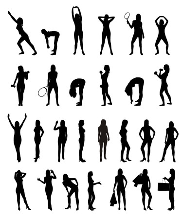 Young Women Collection - set of silhouette Stock Vector - 4498334