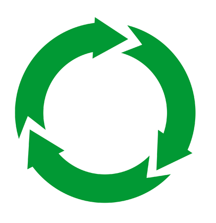 Green and arrow  recycle icon isolated on white  Vector
