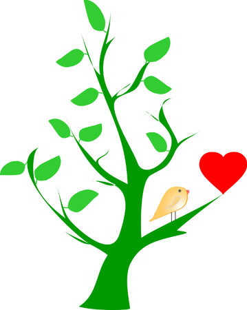 yellow bird and red heart on green tree Stock Vector - 4498342
