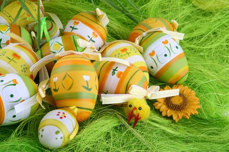 Painted Colorful Easter Eggs on green Grass Stock Photo - 4498371