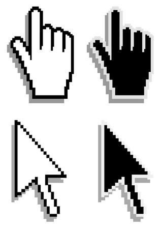 kursor: Dłoń i strzałki kursora. Wektor