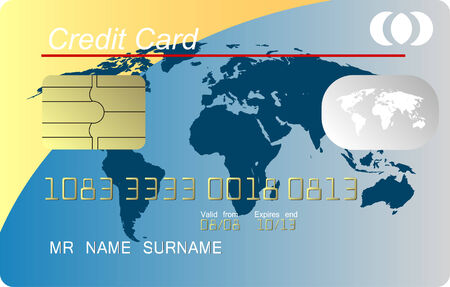 Blue and yellow credit card vector Stock Vector - 4533992