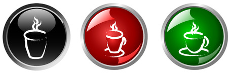 coffee and tea cup , hot drink button Vector