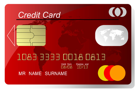 plastic card: Red credit card vector, highly detailed, vector Illustration