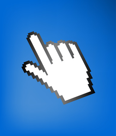 computer hand cursor symbol, on blue background Vector