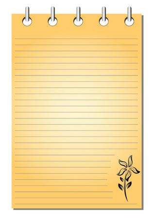 literate: Spiral bound empty orange notepad with flower pattern