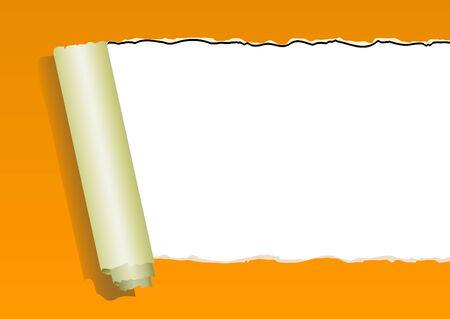orange ripped wall paper on white background -vector Vector