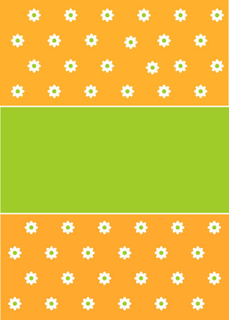Spring or Easter green and orange background with flower pattern Vector