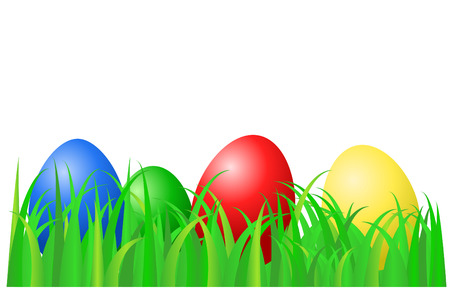 Color Easter eggs laying on green grass Vector