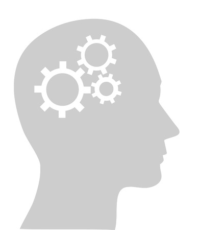 Illustration of cogs or gears in human head
