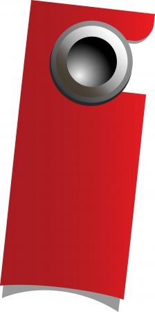 quiet room: Red handle door with warning sign, hanging on knob, vector