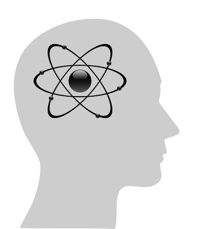 Illustration of atomic symbol in human head  Vector