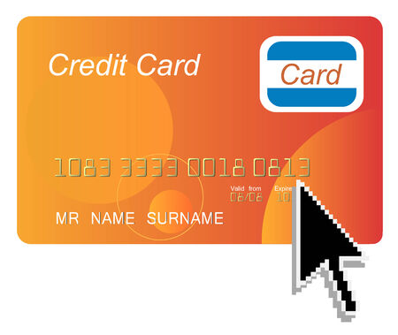 credit card with black arrow computer cursor Vector