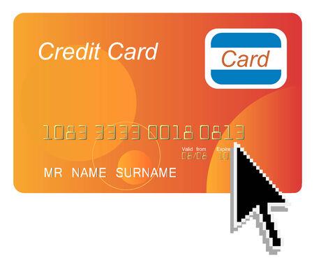 credit card with black arrow computer cursor Stock Vector - 4577555