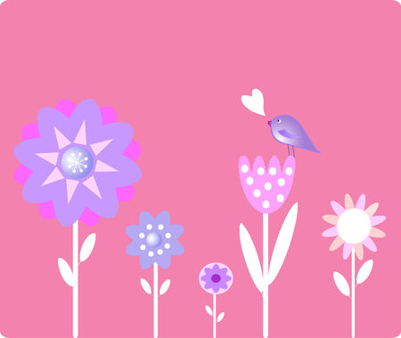 Background with  flowers with small bird Vector