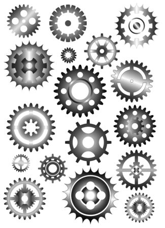 metal working: set of gear wheels isolated on white Illustration