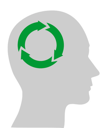 conscious: Illustration of ecology symbol in human head