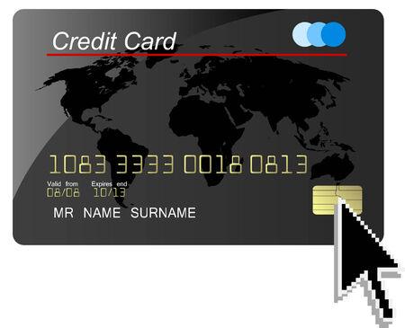 Black credit card vector with computer cursor Vector