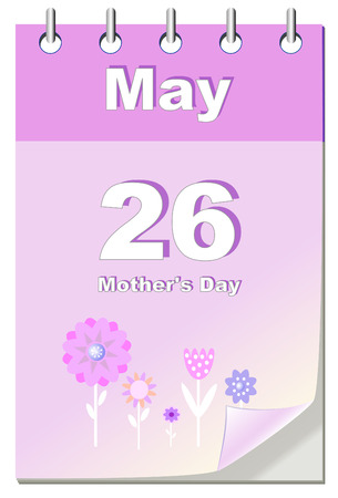Mother.s Day calendar template, vector illustration with flowers Vector