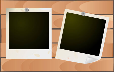 grunge photo frames on wooden background Vector