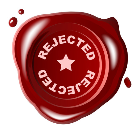 Red wax seal with REJECTED stamped across it Vector