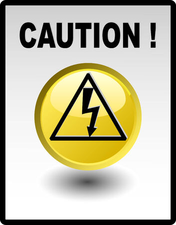 Caution - high voltage , yellow button Stock Vector - 4616999