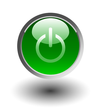 running off:  Green glowing power on or off button Illustration