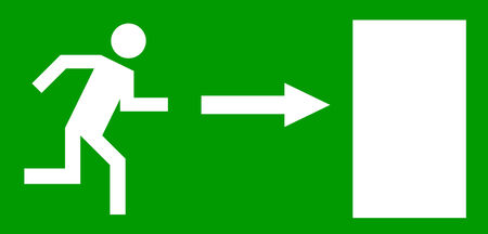 depart: Emergency exit door, sign with human figure